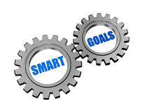 Smart goals in silver grey gears Stock Photo