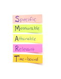 Smart goals sticky notes Royalty Free Stock Photography