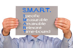 SMART Goals. A target agreement concept with a businessman holding a sign on an isolated white background stock image