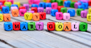 Smart goals words on table Stock Photography