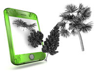 smart grön telefon Arkivfoto