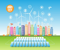 Smart green cities consume alternative natural energy sources with advanced intelligent services, and augmented reality. Vector illustration a city using stock illustration