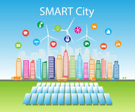 Smart green cities consume alternative natural energy sources with advanced intelligent services, social networks. Vector illustration a city using alternative stock illustration