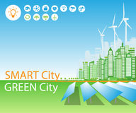 Smart green cities consume alternative natural energy sources, with advanced intelligent services, social networks. Vector illustration a city using alternative stock illustration