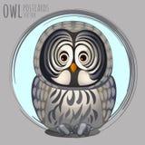 Smart grey owl, vector cartoon series Royalty Free Stock Images