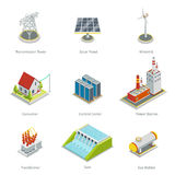 Smart grid elements. Power items vector set Royalty Free Stock Image