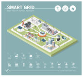 Smart grid and power supply. Smart grid network, power supply and renewable resources infographic with isometric buildings and icons Royalty Free Stock Photography