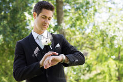 Smart groom checking time in garden Royalty Free Stock Photos
