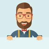 Smart guy holding board. The man with a beard holding board. Vector flat design illustration Stock Photography