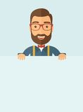 Smart guy holding board. The man with a beard holding board. Vector flat design illustration. Vertical layout with a text space in a bottom Royalty Free Stock Photos