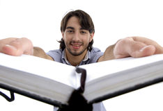 Smart guy holding his opened diary Royalty Free Stock Photo
