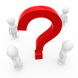 Smart guys with a huge question mark. 3d figures with a huge question mark Stock Photos