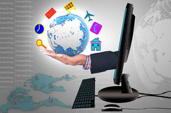 Smart hand grab the globe. Of multi icon Royalty Free Stock Images