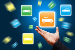 Smart hand hold the car icon explode Royalty Free Stock Photos