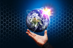 Smart hand hold the world. Smart hand hold the explode world stock image