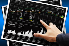 Smart hand point to Graph report Stock Image
