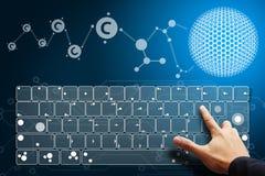 Smart hand press on keyboard Stock Photos