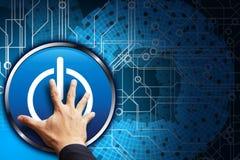 Smart hand press power button Stock Photo