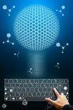 Smart hand press to digital nano keyboard Royalty Free Stock Image