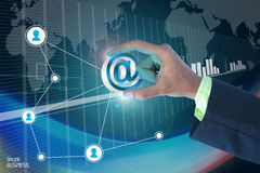 Smart hand showing email sign Royalty Free Stock Photos