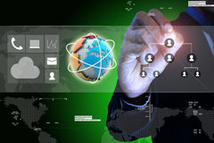 Smart hand  showing globe around with arrow Royalty Free Stock Photography