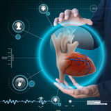 Smart hand showing human heart. In attractive background royalty free stock image