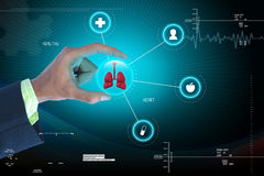 Smart hand showing human lungs. In attractive background royalty free stock photos