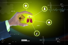Smart hand showing human lungs Royalty Free Stock Images