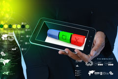 Smart hand showing modern web buttons stock image
