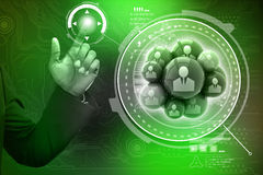 Smart hand showing social networking bubbles Stock Photo