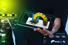 Smart hand showing tablet computer with file transfer. In color background Stock Images