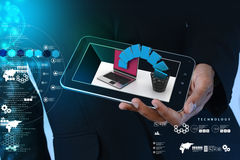 Smart hand showing tablet computer with file transfer. In color background Royalty Free Stock Image