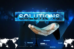Smart hand showing the word solution Royalty Free Stock Photos