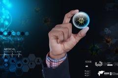 Smart hand som visar viruset 3d Fotografering för Bildbyråer