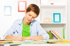 Smart handsome boy write in textbook, do homework Royalty Free Stock Photography