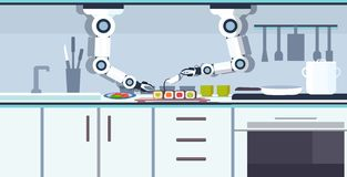 Smart handy chef robot preparing sushi robotic assistant innovation technology artificial intelligence concept modern vector illustration