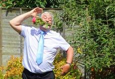 A smart,happy dancing senior business man. Royalty Free Stock Photo