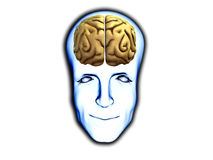 Smart Head With Brain. A happy face with visable brain, for medical or smart concepts Royalty Free Stock Images