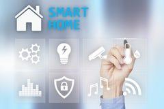 Smart hem- digital man?verenhet p? den faktiska sk?rmen Internet- och automationteknologibegrepp arkivbilder