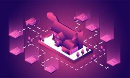 Smart hem förbindelse och kontroll med teknologiapparater stock illustrationer