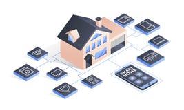 Smart hem förbindelse och kontroll med teknologiapparater royaltyfri illustrationer