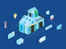 Smart hem förbindelse och kontroll med teknologiapparater vektor illustrationer