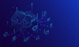 Smart hem förbindelse och kontroll med teknologiapparater till och med internetnätverk royaltyfri illustrationer