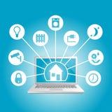 Smart hem i bärbar dator Royaltyfri Foto