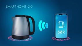 Smart hem- illustration för kokkärlvektorteknologi stock illustrationer