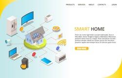 Smart hem- landa mall för sidawebsitevektor royaltyfri illustrationer