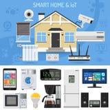 Smart hem och internet av saker royaltyfri illustrationer