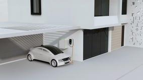 Smart hem som drivas av solpaneler och vindturbinen Elektrisk medeluppladdning i garage vektor illustrationer