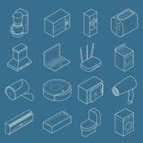 Smart hem- tunn linje isometrisk symbolsuppsättning för vektor royaltyfri illustrationer