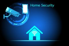 Security Watching the house through the camera and mobile phone vector illustration